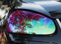 Transparentní fólie na světla chameleon fialová