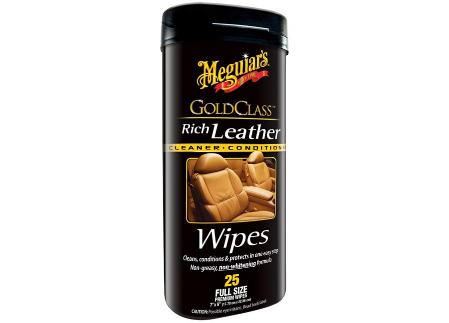 Meguiar's Gold Class Rich Leather Wipes - ubrousky na údržbu přírodní i umělé kůže, 25 ks
