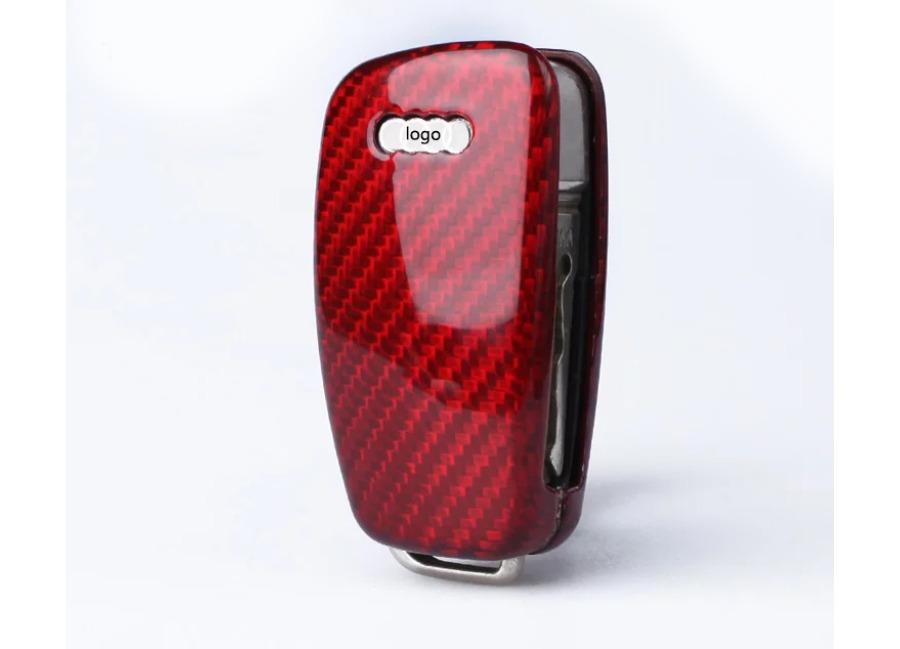 Karbonové pouzdro na klíč pro Audi, barva červená