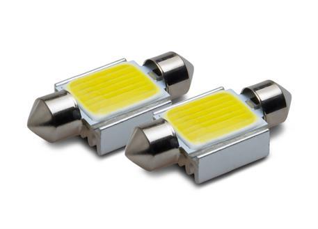 COB LED žárovky 12V, patice sufit 31 mm, bílá, 2ks (pár)