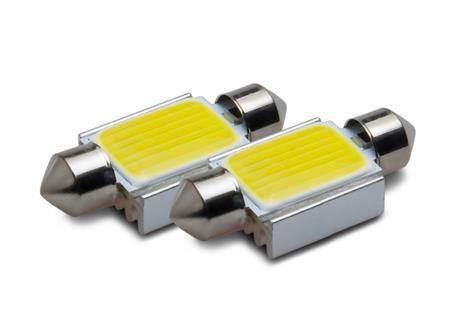 COB LED žárovky 12V, patice sufit 36 mm, bílá, 2ks (pár)