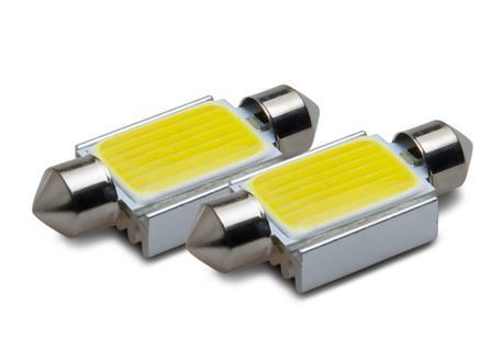 COB LED žárovky 12V, patice sufit 39 mm, bílá, 2ks (pár)