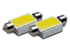COB LED žárovky 12V, patice sufit 42 mm, bílá, 2ks (pár)