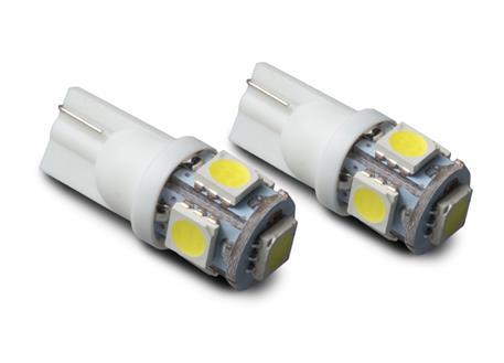LED autožárovky 12V s paticí T10 bílá, 5LED/3SMD, 2ks (pár)