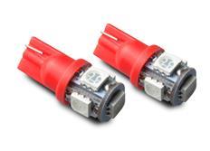 LED autožárovky 12V s paticí T10 červená, 5LED/3SMD, 2ks (pár)