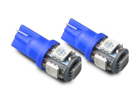 LED autožárovky 12V s paticí T10 modrá, 5LED/3SMD, 2ks (pár)