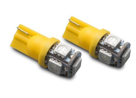 LED autožárovky 12V s paticí T10 oranžová, 5LED/3SMD, 2ks (pár)