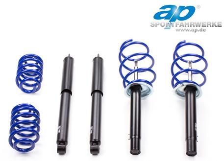 Sportovní podvozek ap Sportfahrwerke pro Audi A4 (8H), Cabrio s poh. př. kol, r.v. od 04/02, 2.4/3.0/3.2FSi/2.5TDi/2.7TDi, snížení 30/30 mm