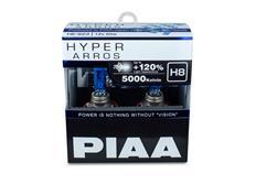 Autožárovky PIAA Hyper Arros 5000K H8 - o 120 % vyšší svítivost, jasně bílé světlo o teplotě 5000K