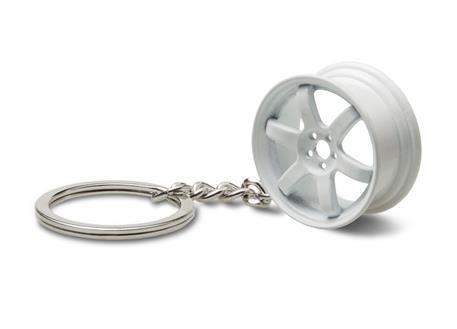Přívěsek na klíče - lité kolo, bílé