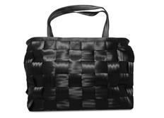 Raemco Dámská kabelka vyrobená z bezpečnostních pásů, černá, větší