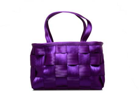 Raemco Dámská kabelka vyrobená z bezpečnostních pásů, fialová, menší