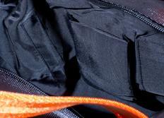 Raemco Dámská kabelka vyrobená z bezpečnostních pásů, šedá s oranžovým vzorem, větší