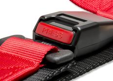 Raemco sportovní 3-bodový bezpečnostní pás červený odpojitelný