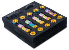 "Sada kolových matic M12x1,25 v titanovém vzhledu ""Rainbow"""