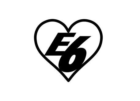 Samolepka E6 srdce, 8 cm, černá