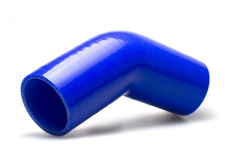 Silikonové koleno 45 stupňů s vnitřním průměrem 57 mm, modré