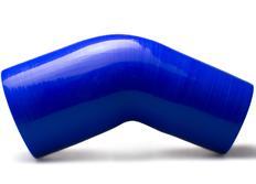 Silikonové redukční koleno 45 stupňů s vnitřním průměrem 76 > 63 mm, modré