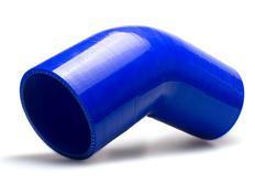 Silikonové redukční koleno 45 stupňů s vnitřním průměrem 76 > 70 mm, modré