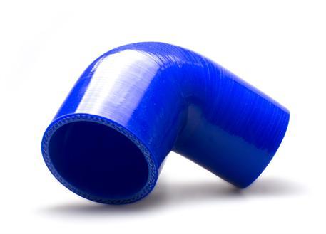 Silikonové redukční koleno 90 stupňů s vnitřním průměrem 76 > 63 mm, modré