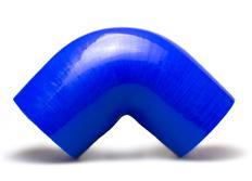 Silikonové redukční koleno 90 stupňů s vnitřním průměrem 76 > 70 mm, modré