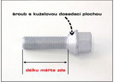 Šroub s kuželovou dosedací plochou M 14 x 1,5 x 50