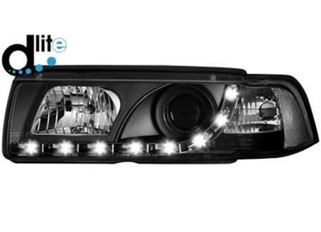 Čiré přední světlomety DECTANE s plnohodnotným denním svícením pro BMW E36 Coupé 92-98, černé, kód: SWB03LGXB