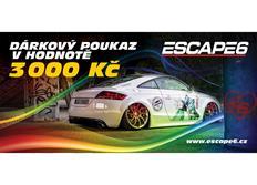Tištěný dárkový poukaz Escape6 v hodnotě 3 000 Kč