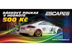 Tištěný dárkový poukaz Escape6 v hodnotě 500 Kč