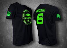 Escape6 černé unisexové tričko se zeleným potiskem na hrudi i na zádech