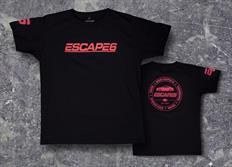 Escape6 černé unisexové tričko s červeným potiskem na hrudi i na zádech