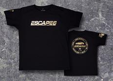 Escape6 černé unisexové tričko se zlatým lesklým potiskem na hrudi i na zádech