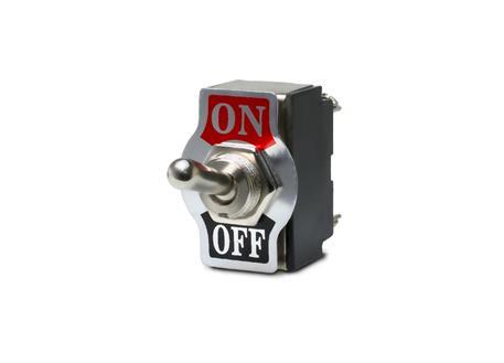 Kovový vypínač s plaketou označující ON/OFF