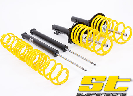 Kompletní sportovní podvozek ST suspensions pro VW Caddy (2K) s náhonem př. kol 1.4, 1.6, snížení 45/45mm, průměr 50mm