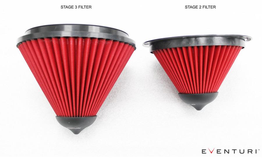 Porovnání vzduchového filtru Eventuri standardní verze a Stage 3 pro Audi RS3