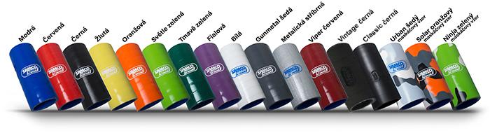 Dostupné barevné varianty silikonových hadic Samco Sport