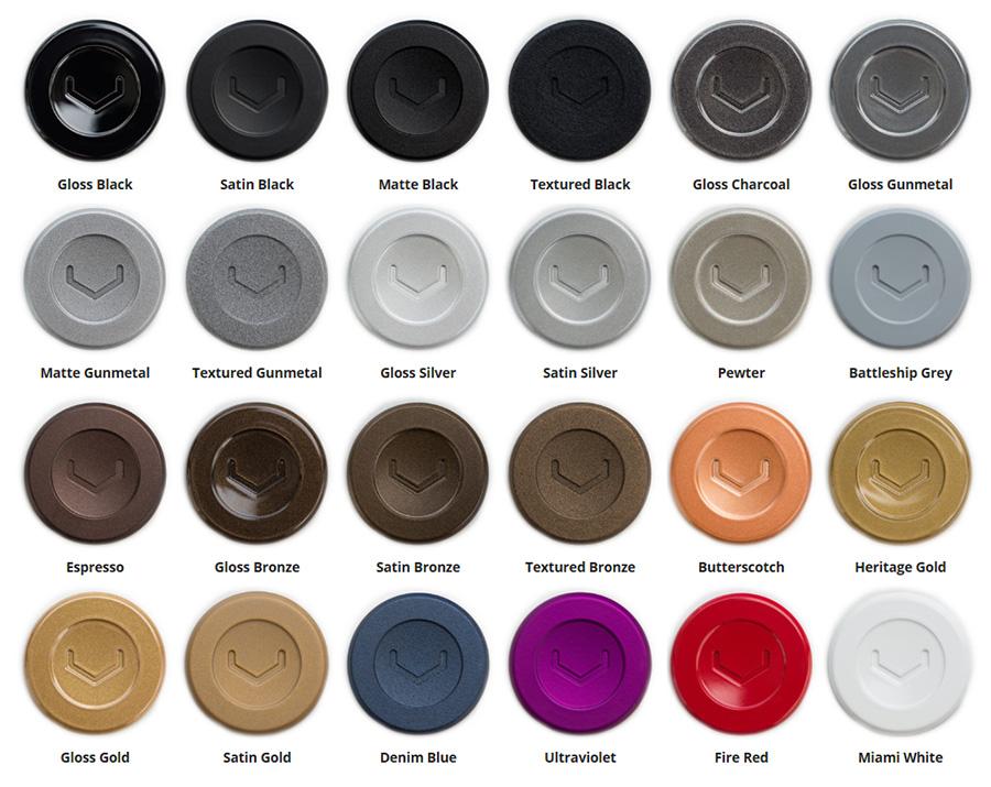 Nabídka povrchových úprav kovaných kol Vossen - práškové barvy