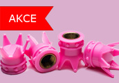 Růžové čepičky ventilků