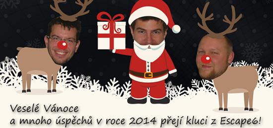 Veselé Vánoce a šťastný nový rok přejí kluci z Escape6 s.r.o.