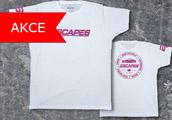 Escape6 bílé tričko s růžovým potiskem